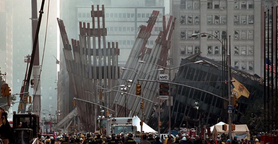 Remains of the World Trade Center Friday, Sept. 14, 2001 in New York City. From: Photographs Related to the George W. Bush Administration, compiled 01/20/2001–01/20/2009 (U.S. National Archives)