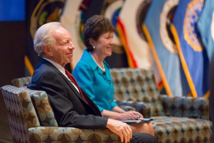 The congressional team behind much of the IRTPA legislation Senators Susan Collins and Joe Lieberman (ret.) attend a program to commemorate the NCTC's decade of service at ODNI's LX auditorium in June. (ODNI Public Affairs)
