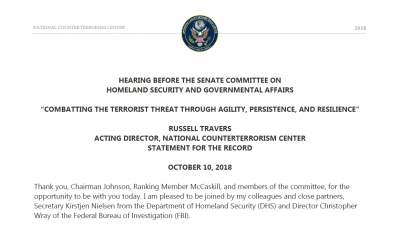 "Hearing Before the Senate Committee on Homeland Security and Governmental Affairs ""Combatting the Terrorist Threat Through Agility, Persistence, and Resilience"""